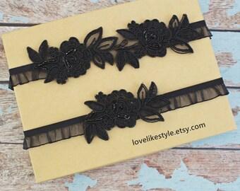 Wedding Garter Set,Black Embroidery Flower with Black Ruffle Elastic Garter Set, Black Garter Set, Black Garter Belt / GT-34A