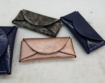 Designer Blue patent leather eyeglass case