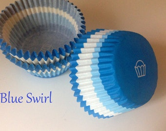 Cupcake Liners - Baking Cups -  Blue Swirl   Cupcakes Cake Pops  Standard Blue and White  (50)