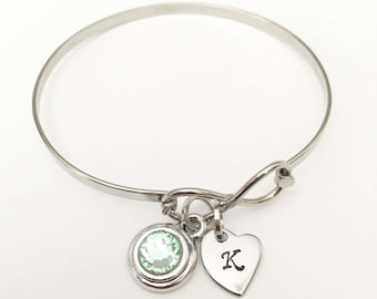 Personalized Eternity Charm Bracelet - Infinity Symbol Bangle - Custom - Stainless Steel - The Kaitlin Charm Bracelet - Initial Bracelet