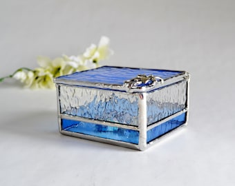 Light Blue Glass Box, Glass Display Box, Jewelry Box, Valentines Day Gift For Her, Bridesmaid Gift, Wedding Display Box.