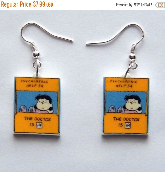 ON SALE Peanuts Gang Lucy the Dr. is In   Psychiatric Earrings
