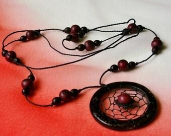 Wood Bead Boho Long Pendant Necklace Beaded Dreamcatcher Cord
