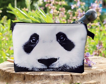 Panda pouch, bear pouch, panda purse, bear purse, panda clutch,bear clutch, panda lover pouch, panda makeup bag, PDA-229
