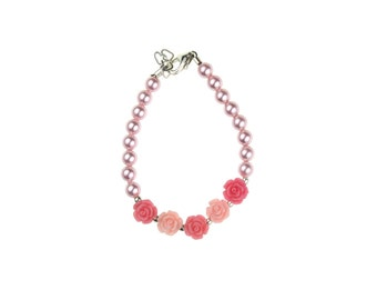 Pink & Rose Flowers and Pearl Bracelet (B100-PR)