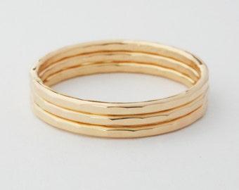 Gold Stack Ring Set of 3 Yellow Gold Filled Rings 16ga