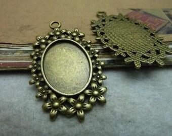 10pcs 25x18mm antique bronze cabochon pendant settings C7476