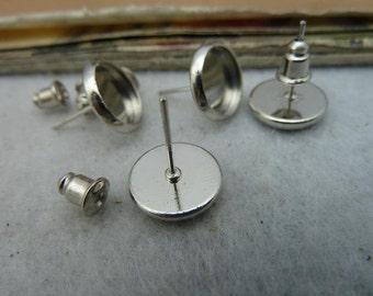 20pcs 10mm White K cabochon earrings settings C3169