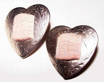 "Silver Concho Heart Earrings Pink Suede Accents Pierced Ears Post Backs 1"" Vintage"