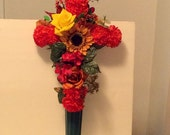 Autumn Gravesite Floral Cross, Cemetery Silk Flowers, Fall Memorial Flowers, Funeral Flowers