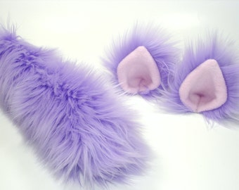 Lavender Cat Ears And Tail-Cat Costume-Harajuku-Lolita-Cat Ears- Cat Tail-Halloween-Cosplay-Anime-Fuzzy Cat Ears - Faux Fur- Cat Birthday