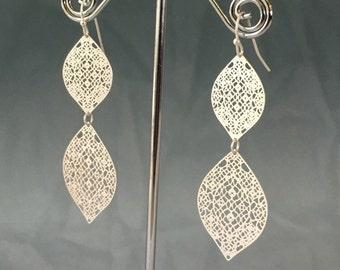 Moroccan Silver Lace Filigree Earrings, Bohemian style earrings, Lace Earrings, Spanish Style Boho Jewelry, Bridesmaid Earrings