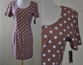 1990s Polka Dot Dress // Womens 90s Tan Brown Short Sleeve Dotted Print Mini Dress // XS S M L XSmall Small Medium Large