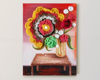 """Coffee Table with Vase 12"""" x 16"""" CROCHET + PAINTING on CANVAS, Oversized, Large Retro Flowers in Yellow Vase on Distressed Coffee Table"""