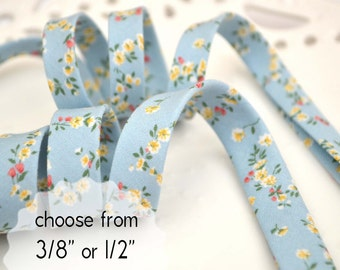 "precious flowers on dusty blue - double fold, bias tape - 3 yards, CHOOSE 3/8"" or 1/2"" wide"