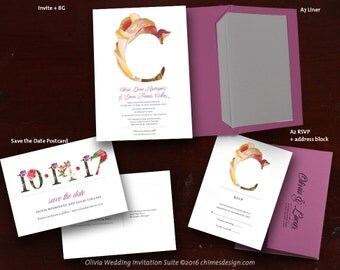OLIVIA Floral Monogram Invitation Suite Printables