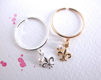 Fleur de Lis dangle ring with pearl  - flour de Lys ring - adjustable ring  - silver - gold  charm ring
