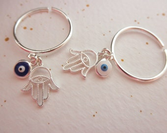 Hamsa and Evil eye dangle ring sterling silver - adjustable ring - 925 solid sterling silver - blue evil eye - white evil eye