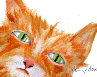 Orange Cat - Art print of Original Watercolor Painting - 8x10 Cat Art