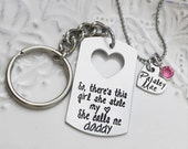 Stamped Jewelry Personalized Jewelry -Father Daughter So There's This Girl She Stole My Heart She Calls Me Daddy Dog Tag Chain KeyChain