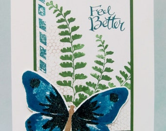 Feel Better Card with Butterfly, Get Well Card, Hand Stamped Card