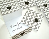 envelope style mini note cards, set of 8 grey and white chevron handmade mini cards, tri-fold mini notes, shop thank yous, lunch box notes