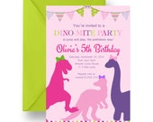 Girls Dinosaur Birthday Party Invitations Pink and Purple T-Rex Fun Museum Party Invite Print Your Own or Printed Paper Personalized (GDBP1)