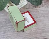 Soft Green Engagement Ring Box - Rustic, Shabby Chic Ring Box - Jewelry Box - Gift Box- Wedding