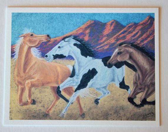 Western art, note card, blank greeting card, horse art, fine art, single card, equestrian art, cowboy art, wild horses, colorful, desert art