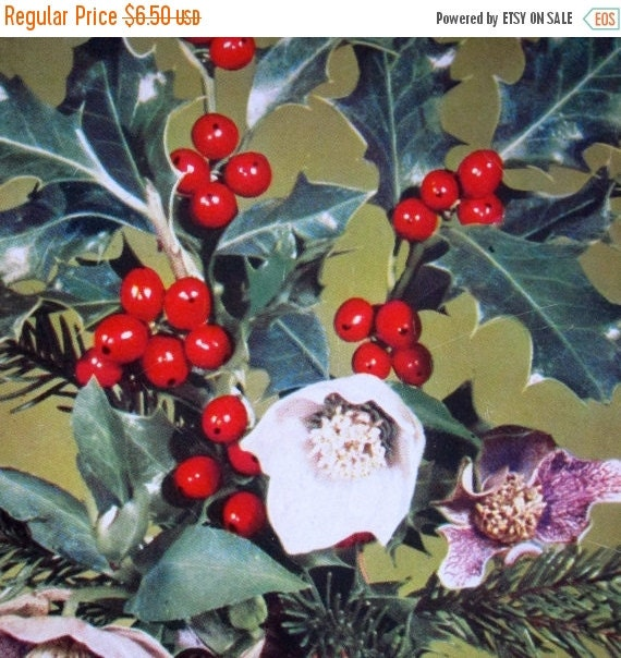 40% off Holiday Sale Christmas Post Card Midcentury Germany Holiday Holly Photo