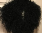 Reserved Layaway - Second Payment 40.00 MONGOLIAN FUR COLLAR Black Wool Tibet Vintage
