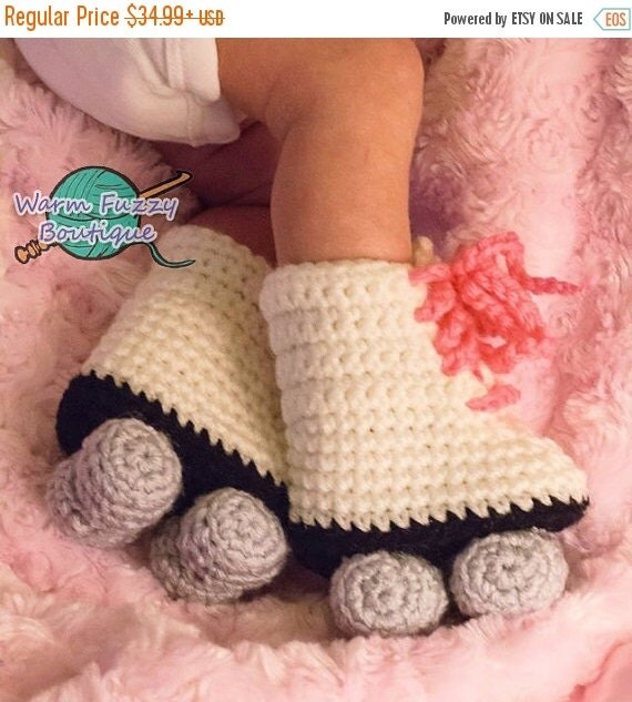 SALE Baby Roller Skates Booties Pink Laces White Grey Crochet Winter Outfit Newborn Boy Girl Halloween  Photo Prop Accessory