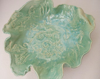 Vintage Seafoam Green Art Pottery/Seahorse Scalloped Dish/Sea Ceramic/Centerpiece/Beach Decor