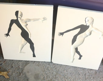 Set of 2 Very Rare 1956 Nude Woman - Midcentury Plaster Art By Richter Artcraft Co, Black and White