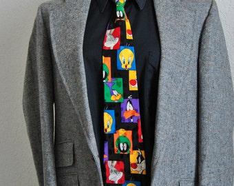 Cartoons Characters Tie, Novelty Black Mens Ties, Designer Mens Necktie, Looney Tunes Mens Neckwear, Oddities, Gifts for him