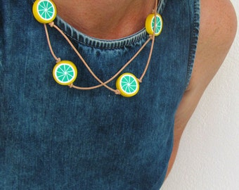Double Wrap Necklace, Kawaii Jewelry, Summer Necklace, Long Leather Necklace, Fruit Lime