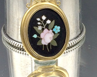 Victorian Pietra Dura Gold Locket, Antique Pietra Dura 12K Gold Locket Pendant