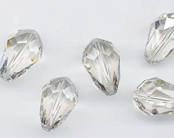 Six special Swarovski crystals - art 5500 - 18 x 12 mm - crystal silver shade