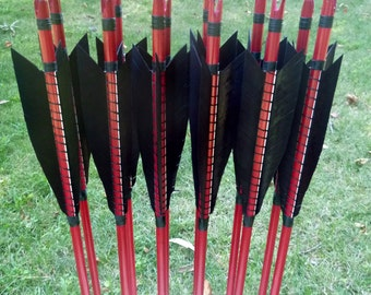Self Nocked Arrows, 30-35lb, dozen arrows, traditional wood archery arrows