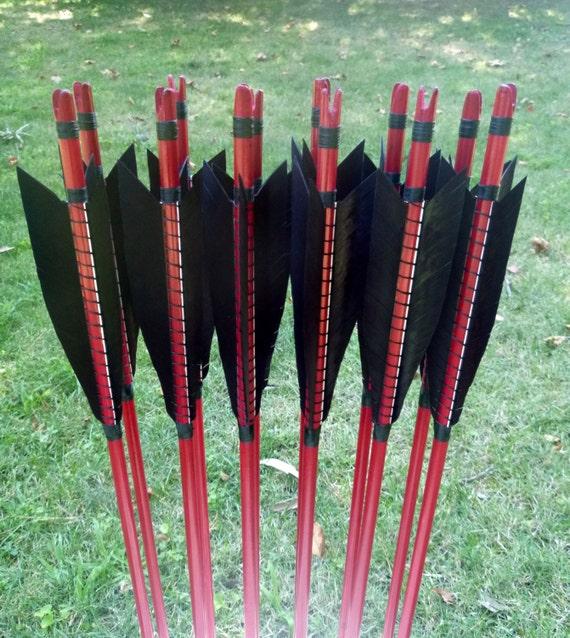 Self Nocked Arrows, 30-35lb, dozen arrows, traditional wood archery arrows