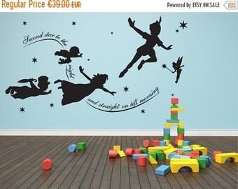 Summer sale Peter pan wall decal Vinyl mural nursery playroom decal