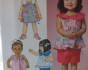 UNCUT Baby, Toddler Outfit Pattern Shirt, Shorts, Dress, Pants Butterick 6200 Size 1/2-4