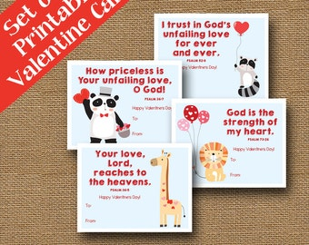 Printable Animal Valentines | Lion, Panda, Giraffe, Raccoon Valentines | DIY PRINTABLE | Kids Bible Valentines | SET of 4 | Instant Download