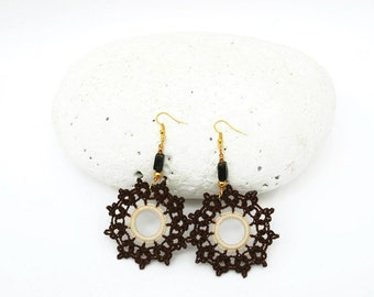 Crochet earrings- Crochet jewelry - Fashion crochet - Large earrings - Round earrings - Brown and cream