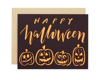 Happy Halloween jack o lantern pumpkin Laser Cut Card