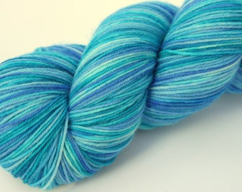"Kettle Dyed Sock Yarn, Superwash Merino and Nylon 75/25 Fingering Weight, in ""Pool"""