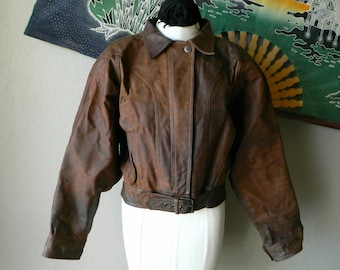 "1980's ""Linea Privata"" Distressed Multi Hued Bomber Style Brown Leather Jacket- Hippie Boho Hipster Rocker Country Western Biker"