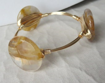 "Volcanic Quartz Bangle Bracelet ""Bourbon and Bowties"" Inspired"