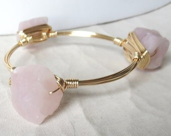 "Rose Quartz Rough Nugget Bangle Bracelet  ""Bourbon and Bowties"" Inspired"
