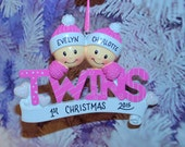 Personalized Twin Girls Christmas Ornament